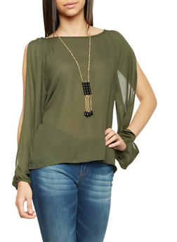 Chiffon Top with Split Long Sleeves and Necklace - OLIVE - 1005058756425