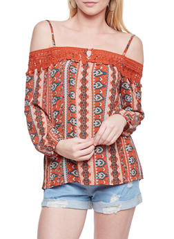 Crepe Knit Cold Shoulder Patterned Blouse with Crochet Neckline - 1005058756815