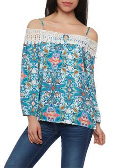 Paisley Off The Shoulder Top with Crochet Trim - 1005058756825