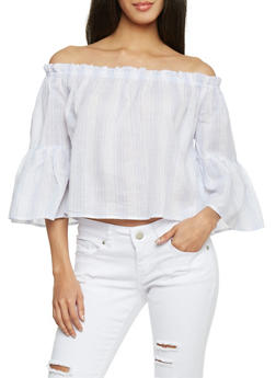Striped Off The Shoulder Bell Sleeve Crop Top - 1005058757357