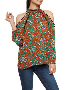Paisley Print Cold Shoulder Pom Pom Trim Top with Keyhole Back Detail - 1005058757591