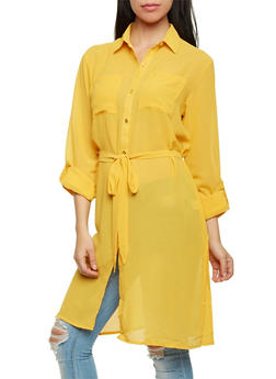Tunic Top with Tie Belt - 1005067330122