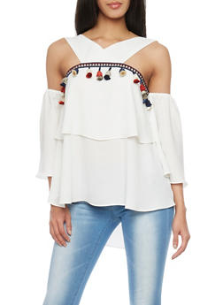 Layered V-Neck Cold Shoulder Top With Tassel Trim - 1005067330456