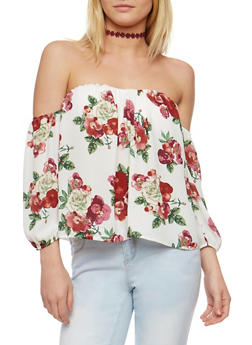 Floral Off the Shoulder Top - 1005067330465
