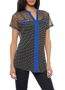 Polka Dotted Mesh Top with Contrast Trim and Faux Zipper Pockets - 1005067330467