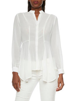 Mandarin Collar Blouse with Sharkbite Hem - IVORY - 1005067330715