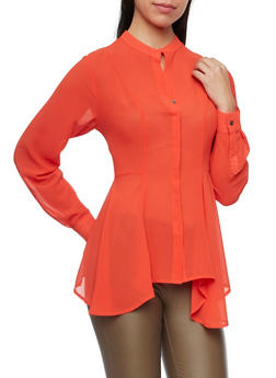 Mandarin Collar Blouse with Sharkbite Hem - 1005067330715