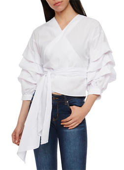 Solid Wrap Top with Tiered Ruffle Sleeves - 1005067332135