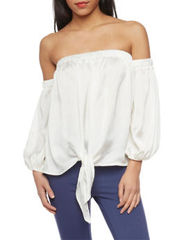 Long Sleeve Off the Shoulder Top with Tie Front - WHITE - 1005067332234
