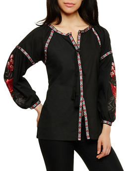 Long Sleeve Button Front Top with Embroidery - 1005067332534