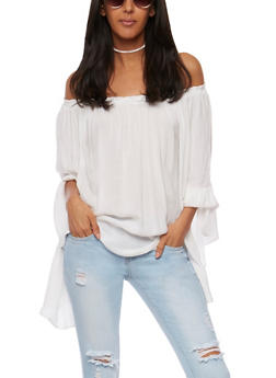 Off the Shoulder Bell Sleeve Peasant Top - 1005067332834