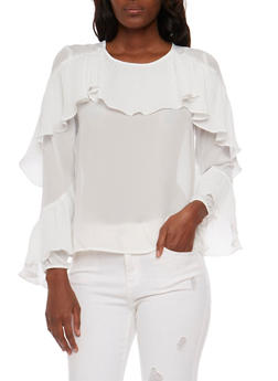Long Sleeve Blouse with Ruffle Detail - 1005067332934