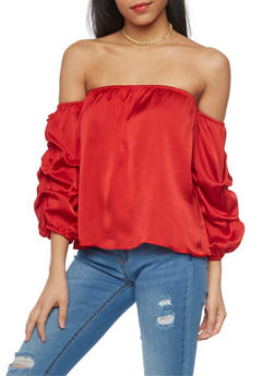 Satin Off the Shoulder Top with Ruched Sleeves - 1005067333134