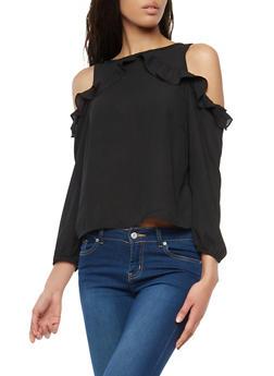 Ruffled Long Sleeve Cold Shoulder Top - 1005074290132