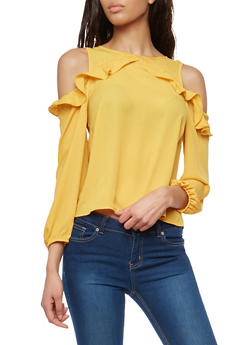 Ruffled Long Sleeve Cold Shoulder Top - 1005074290132