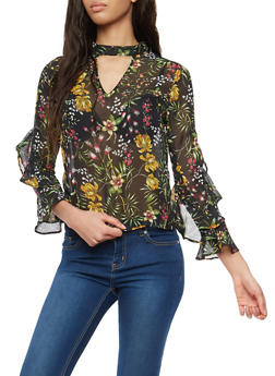 Floral Ruffled Bell Sleeve Top - 1005074290136