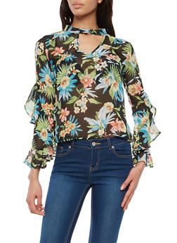 Ruffled Long Sleeve Tropical Print Top - 1005074290137