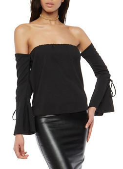 Drawstring Bell Sleeve Off the Shoulder Top - 1005074290157