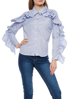 Pinstripe Ruffle Sleeve Button Front Shirt - 1005074290168