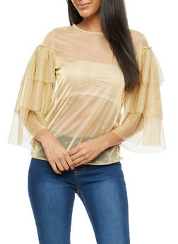 Foil Mesh Tiered Sleeve Top - 1005074290172