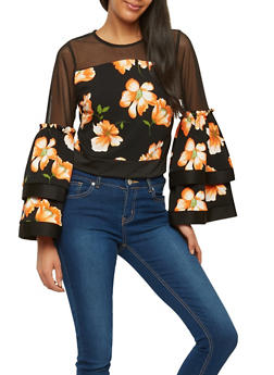 Floral Textured Knit Mesh Crop Top - 1005074290706