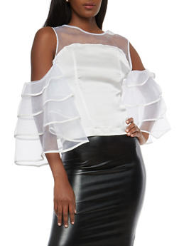 Satin Tiered Sleeve Cold Shoulder Top - 1005074290710