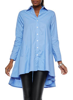 High Low Button Front Top - 1005074290724