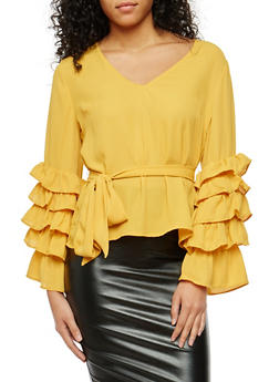 Tiered Sleeve Tie Waist Blouse - 1005074290731