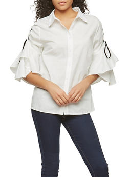 Lace Up Tiered Sleeve Button Front Shirt - 1005074290737