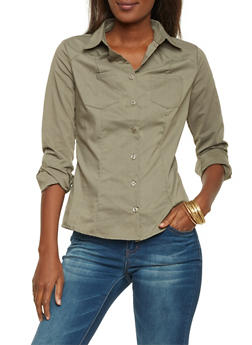 Button Up Shirt with Seams - 1006051068754