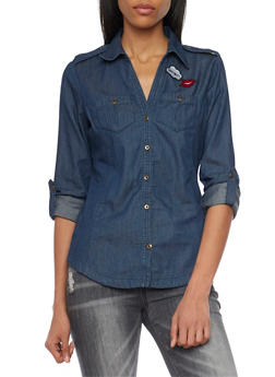 Chambray Shirt with Patches - 1006051068755