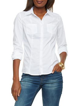 Poplin Shirt with Button Front - WHITE - 1006051068756