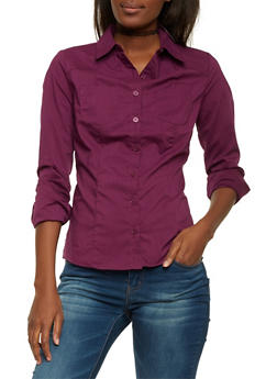 Poplin Shirt with Button Front - 1006051068756
