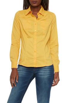 Poplin Shirt with Button Front - MUSTARD - 1006051068756