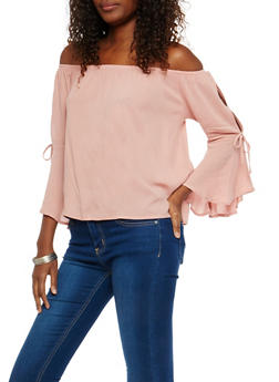 Off the Shoulder Tie Bell Sleeve Top - 1006054269850
