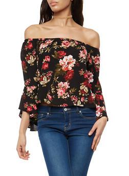 Floral Off the Shoulder Bell Sleeve Top - 1006054269859