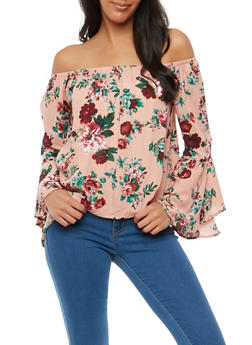 Floral Off the Shoulder Bell Sleeve Top - 1006054269859
