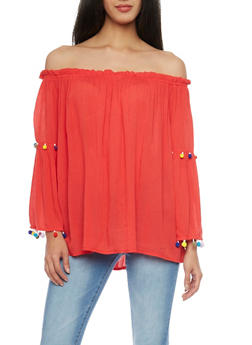 Off the Shoulder Bell Sleeve Top with Pom Pom Trim - 1006058750221