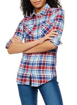 Plaid Flannel Button Front Shirt - 1006058751513