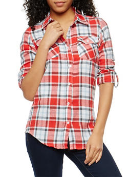 Red Flannel Button Front Shirt - 1006058751514