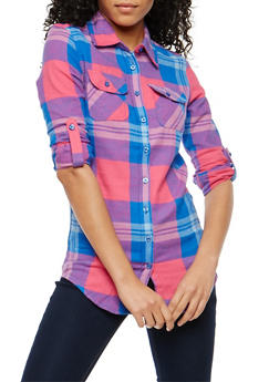 Plaid Flannel Button Front Shirt - 1006058751517