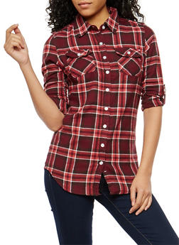 Plaid Flannel Button Front Shirt - 1006058751519