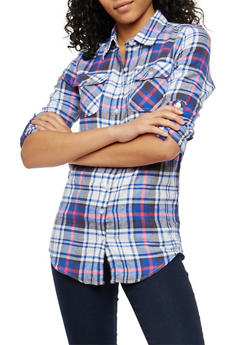Blue Plaid Flannel Shirt - 1006058751520