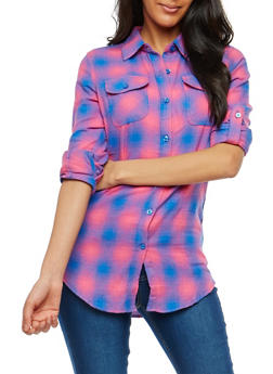 Plaid Flannel Button Front Shirt - 1006058751521