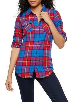 Plaid Button Front Shirt - 1006058751523