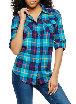 Plaid Flannel Button Front Shirt - 1006058751524