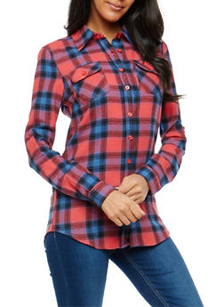 Fuchsia Plaid Button Front Top - 1006058751525