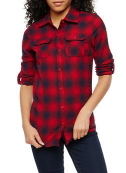 Red Plaid Button Front Shirt - 1006058751526