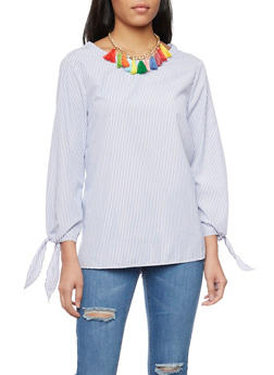 Pinstripe Oversize Top with Tassel Necklace - 1006058757190