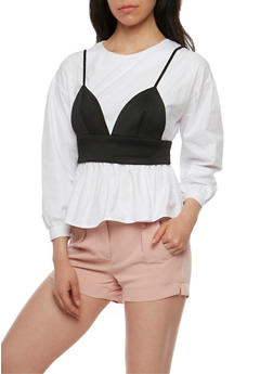 Peplum Blouse with Scuba Bra - 1007058751291